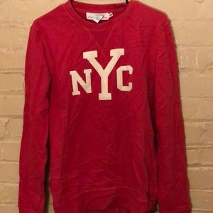 Men's NYC Winter Varsity Red Crewneck Sweater